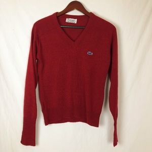Vintage ISOD Lacoste Red V Neck Sweater Small